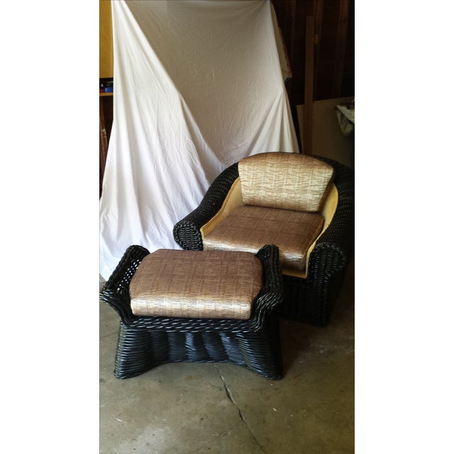 This Vintage Casa Bella Chair with Ottoman is in excellent condition, rattan, no stains and super comfortable with the...