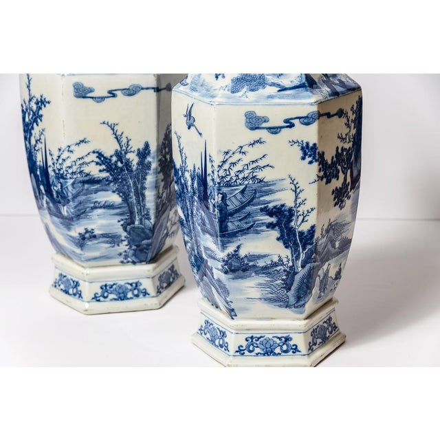 20th C. Tall Chinese Blue & White Vases - a Pair For Sale - Image 10 of 11