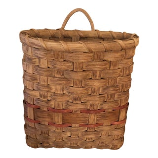 Antique Basket Wall Pocket For Sale
