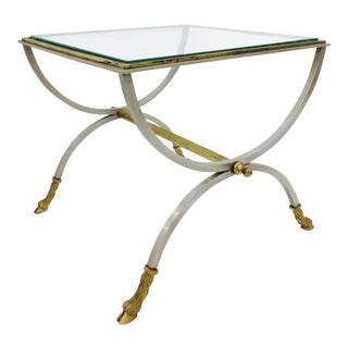 Vintage La Barge Glass & Metal Side Table