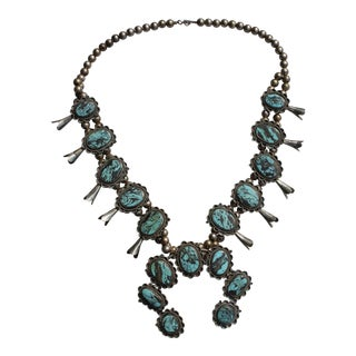 Vintage Turquoise Squash Blossom Necklace For Sale