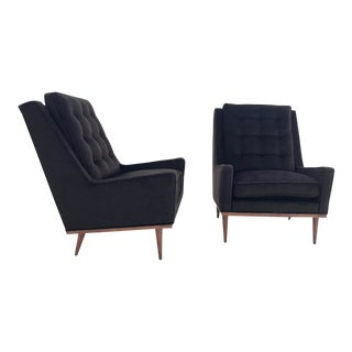 Milo Baughman for James Inc Lounge Chairs in Loro Piana Alpaca and Virgin Wool - Pair For Sale