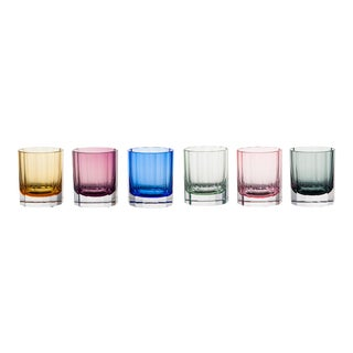 Faceted Double Old Fashioned Glasses, Assorted Colors, Set of 6 (Peridot, Blue, Rose, Purple, Amber, Smoke) For Sale