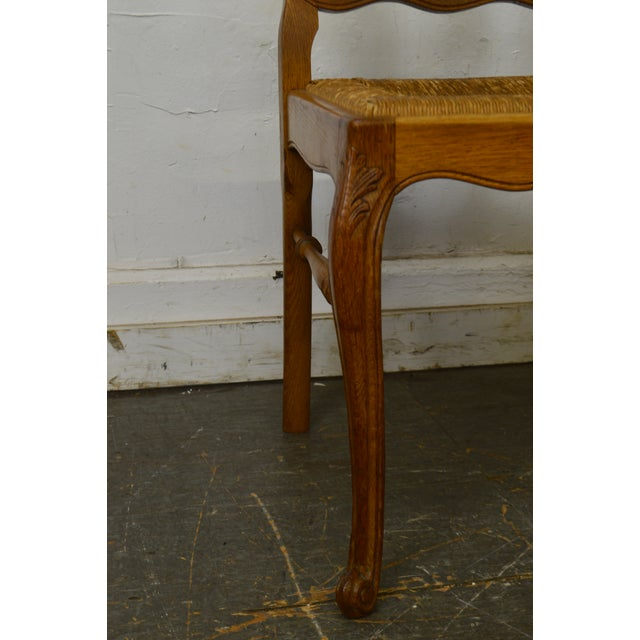 Oak French Country Style Antique Oak Rush Seat Dining Chairs - Set of 6 For Sale - Image 7 of 13
