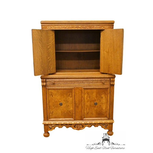 Late 20th Century 1920's Antique Jacobean Gothic Revival Solid Oak Cupboard For Sale - Image 5 of 13