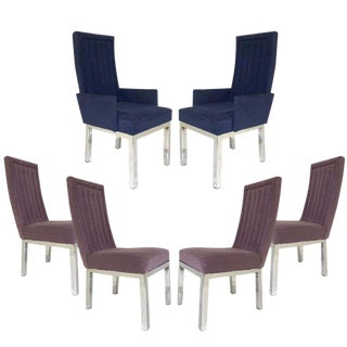 Set of 6 Milo Baughman for Design Institute of America Dia Chrome Parsons Chairs For Sale