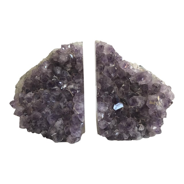 Large Geode Amethyst Bookends - a Pair - Image 1 of 6
