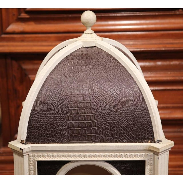 French Carved Hand-Painted & Leather French Dog House With Dome Top For Sale - Image 3 of 6
