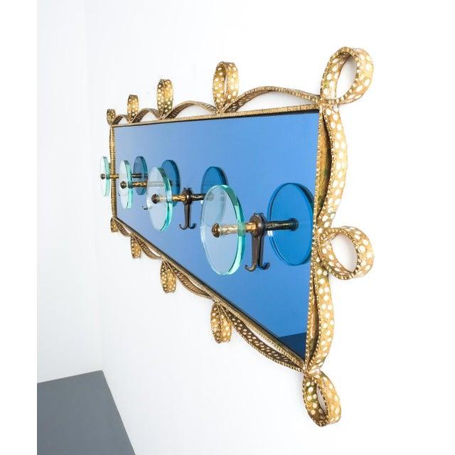 Italian Pierluigi Colli Coatrack Wall Wardrobe Iron Blue Glass Mirror, Italy 1950 For Sale - Image 3 of 10