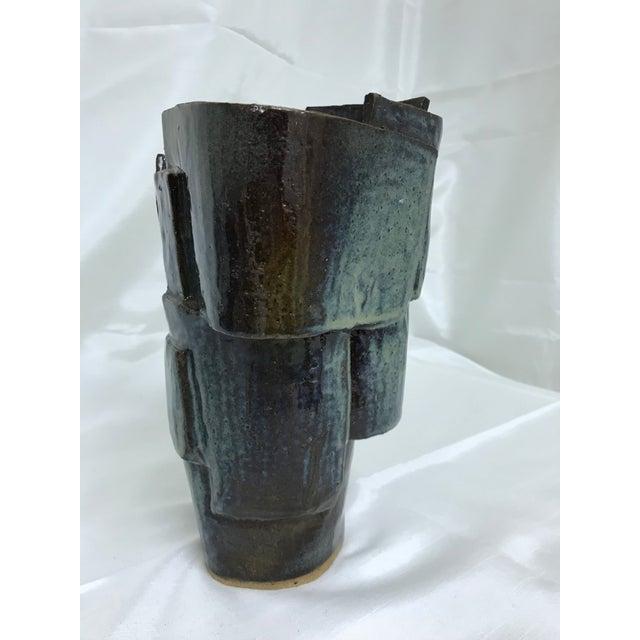 Vintage Glazed Green Pottery Vase Succulent Planter For Sale - Image 4 of 11