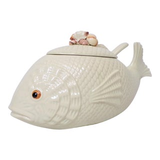 Vintage Large White Pottery Fish Tureen For Sale