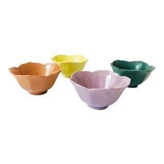 Vintage Colorful Lotus Bowls - Set of 4 For Sale