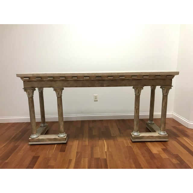 1970s Maitland-Smith Console Sofa Table Tessellated Neoclassical Fossil Stone and Marble For Sale - Image 10 of 10