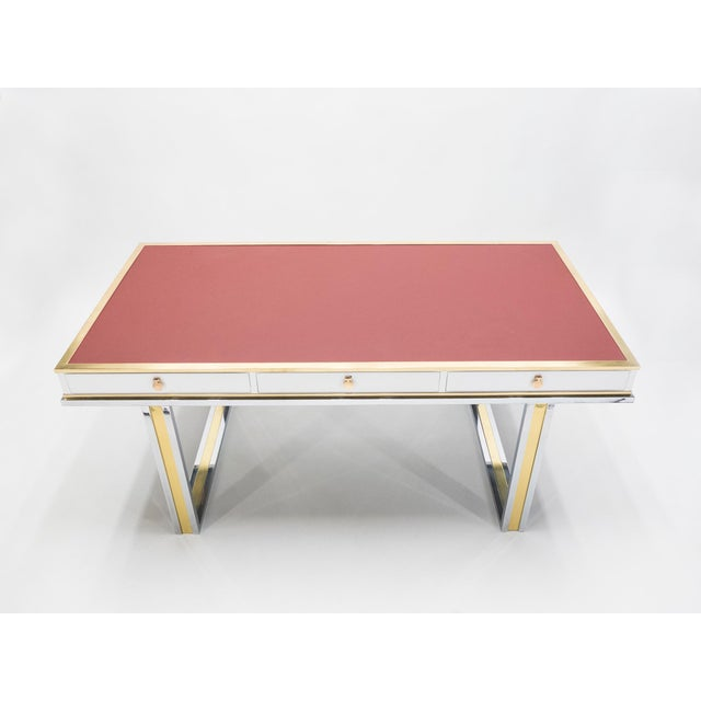 Unique French Desk White Lacquer Brass Red Leather by Atelier La Boetie, 1974 For Sale - Image 11 of 13