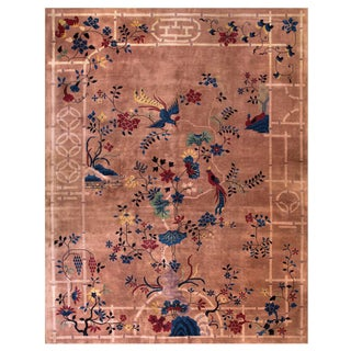 "1920s Antique Chinese Art Deco Rug -9'0"" X 11'6"" For Sale"