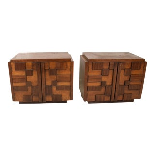 Mid-Century Modern Brutalist Walnut Nightstands by Lane - a Pair For Sale