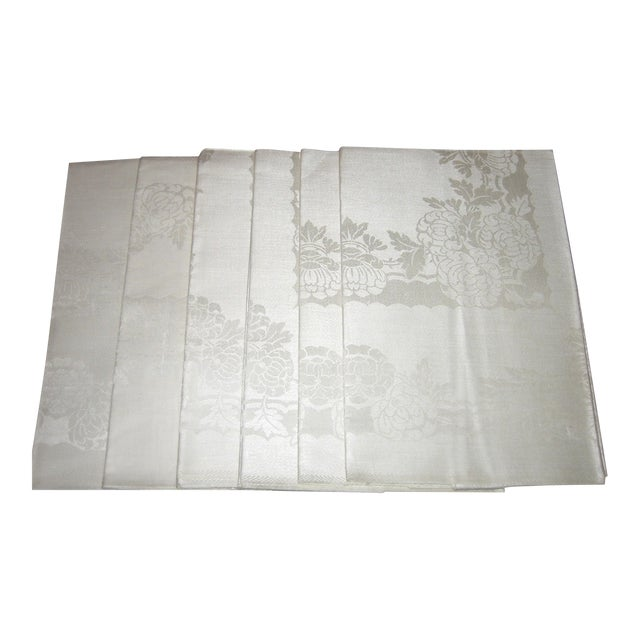 Pure Irish Linen Double-Damask Napkins - Set of 6 - Image 1 of 4
