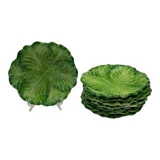 Green Lettuce Majolica Small Italian Plates For Sale