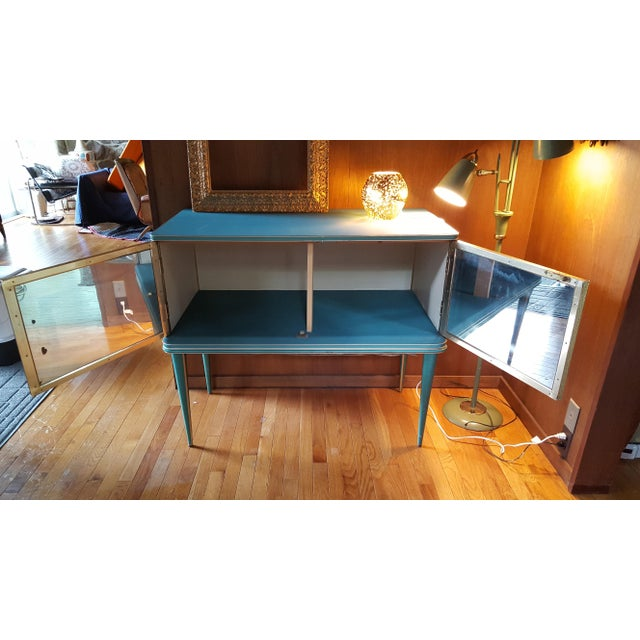 Vintage Mid-Century Turquoise and Gold Side Table & Chair For Sale In Baltimore - Image 6 of 10