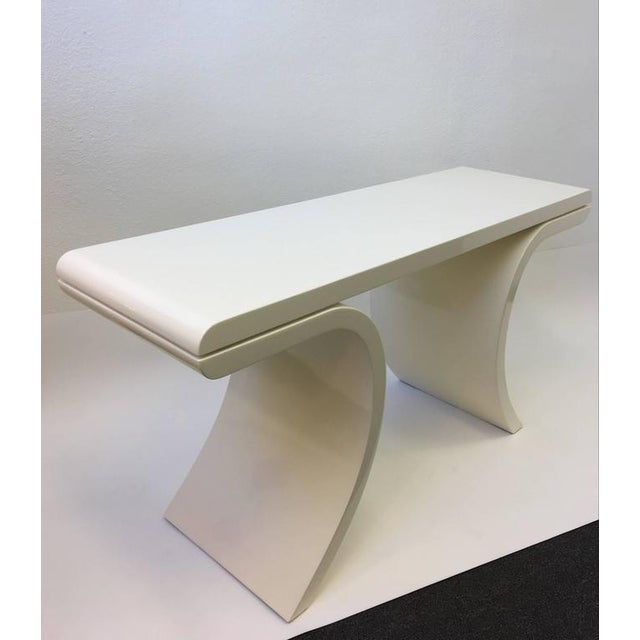 Lacquer High Gloss Lacquered Console Table in the Manner of Karl Springer For Sale - Image 7 of 8