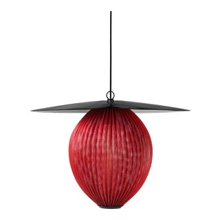 Large Mathieu Matégot 'Satellite' Pendant in Black and Red Metal For Sale