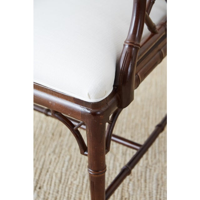 Mid 20th Century Chinese Chippendale Chocolate Lacquered Faux Bamboo Dining Chairs For Sale - Image 5 of 13