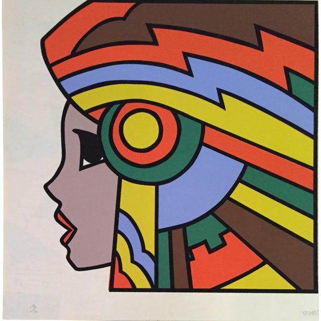 "1977 Graphic Silkscreen Signed Yamada ""Girl With Headdress"" For Sale"