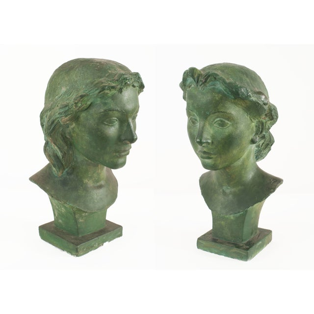 French Art Deco Green Patina Plaster Busts For Sale - Image 4 of 4