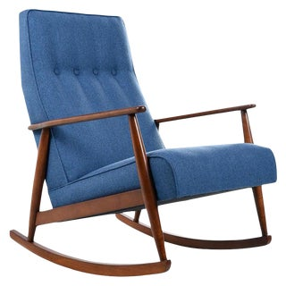 German Beech Mid-Century Modern Rocking Chair in Blue Fabric - 1950s For Sale