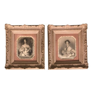 Pair Antique Engravings in French Period Framed a Pair For Sale