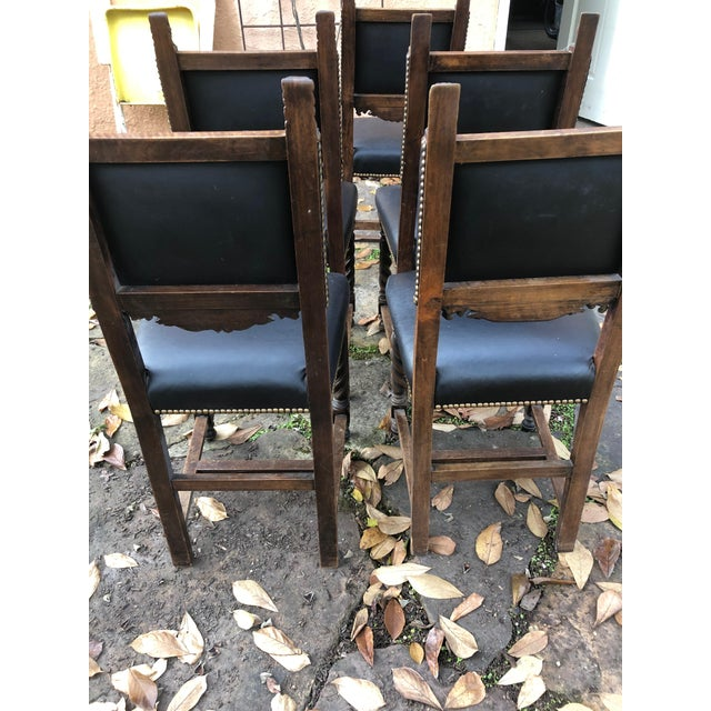 19th Century Carved Mahogany Jacobean Dining Side Chairs- Set of 5 For Sale - Image 12 of 13