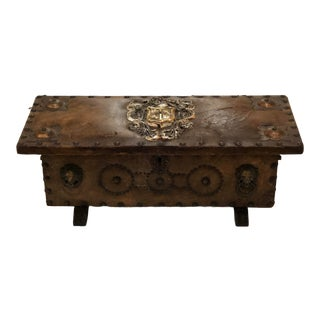 Footed Leather Box With Studs, Crest and Various Decorations For Sale