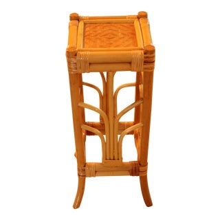 1960s Rattan Bamboo Plant Stand For Sale