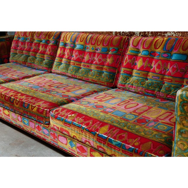 Dunbar Furniture Edward Wormley Dunbar sofa with original Jack Lenor Larsen upholstery For Sale - Image 4 of 11