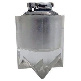Vintage M-D-Century Crystal Faceted & Chrome Atomic Lighter For Sale