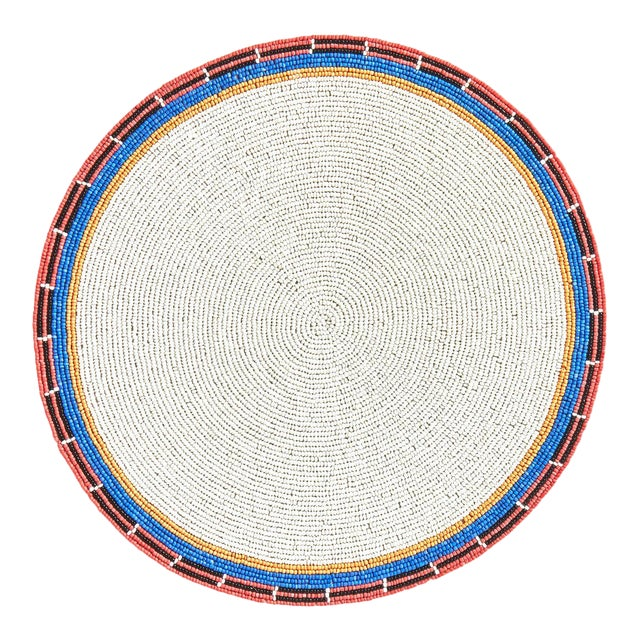 Multi White Beaded Placemat For Sale