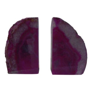 Brazilian Magenta Agate Bookends - Pair For Sale