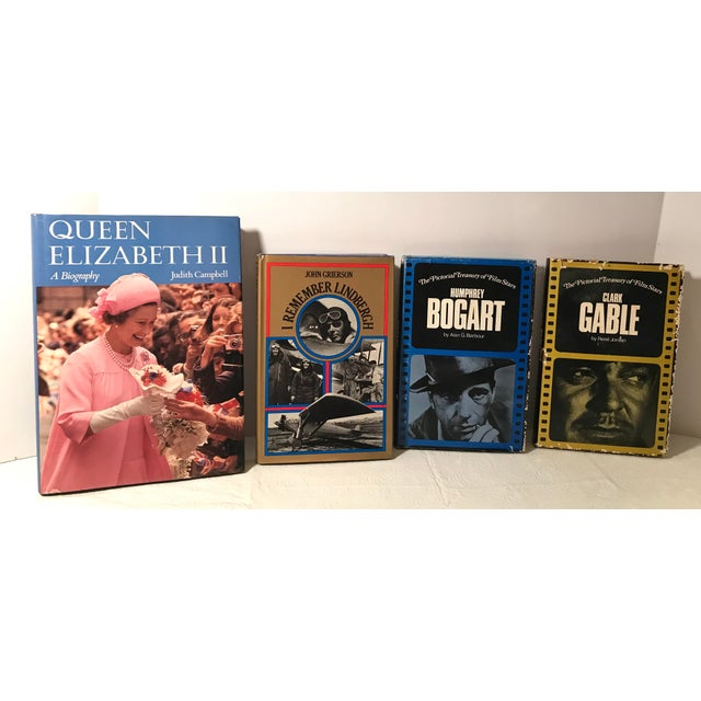 Four biographies from the 70s. Queen Elizabeth (1977), Humphrey Bogart (1977), Clark Gable (1973), and Lindebergh (1973).