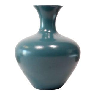 1980s Mid-Century Haeger Matte Teal Amphora Ceramic Vase For Sale