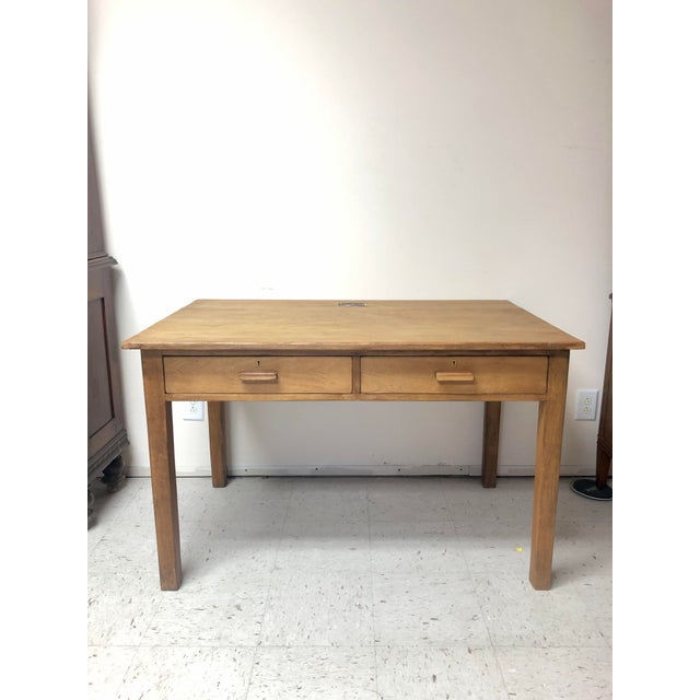 Antique Country Farm Table / Desk With Two Drawers For Sale - Image 12 of 13