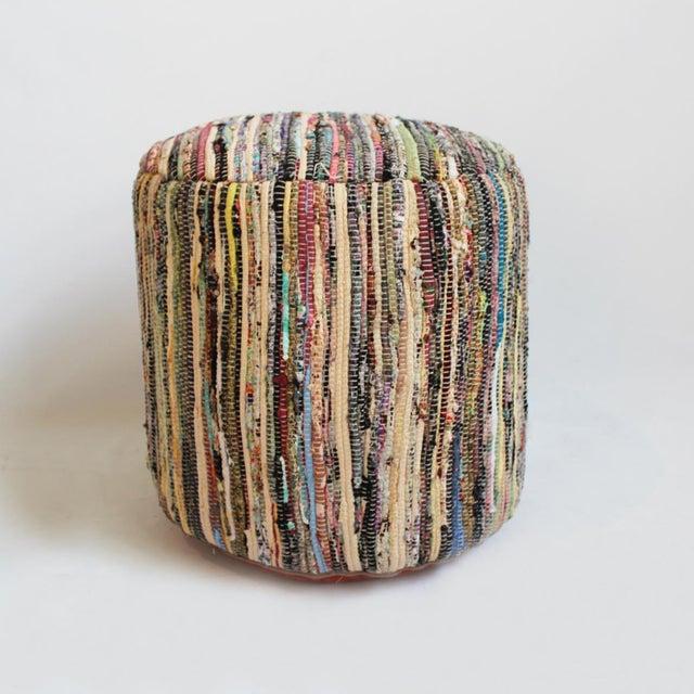 Boho Chic Boho Sari Rug Ottoman Stool For Sale - Image 3 of 3