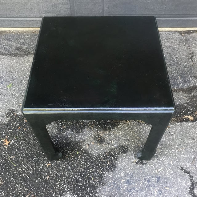 Quality side table by Baker Furniture. Finished with a crackled green glaze. Solid and well built. Would complement any...
