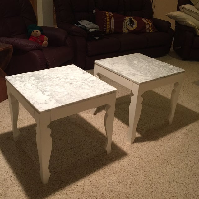 Marble & Wood End Tables - A Pair - Image 2 of 5