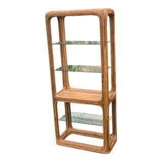 Gabriella Crespi Style Organic Pencil Reed Rattan Etagere With Glass Shelving For Sale