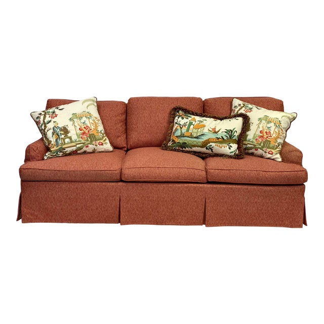 Hickory Chair Dressmaker Sofa With Red Textured Upholstery For Sale