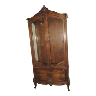 Antique French Provincial Style Walnut Curio Cabinet For Sale