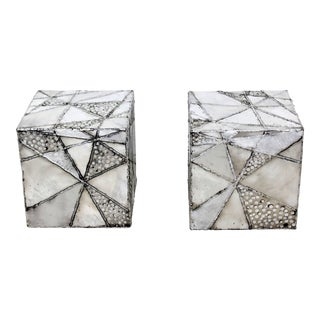 "Contemporary Modern Chrome Cube Side End Tables Paul Evans ""Argente"" Style - a Pair"