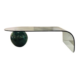 1980s Glazed Sphere and Waterfall Glass Cocktail Table For Sale