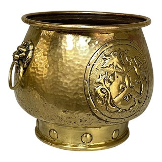 19th Century Embossed Brass Jardiniere For Sale