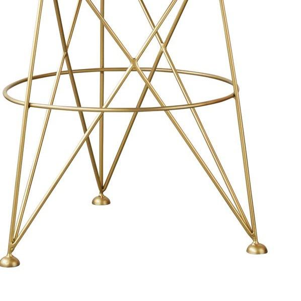 "Classic metal table in gold finish with a sand coloured marble top. Measurements are: 22"" Round Height:24"""